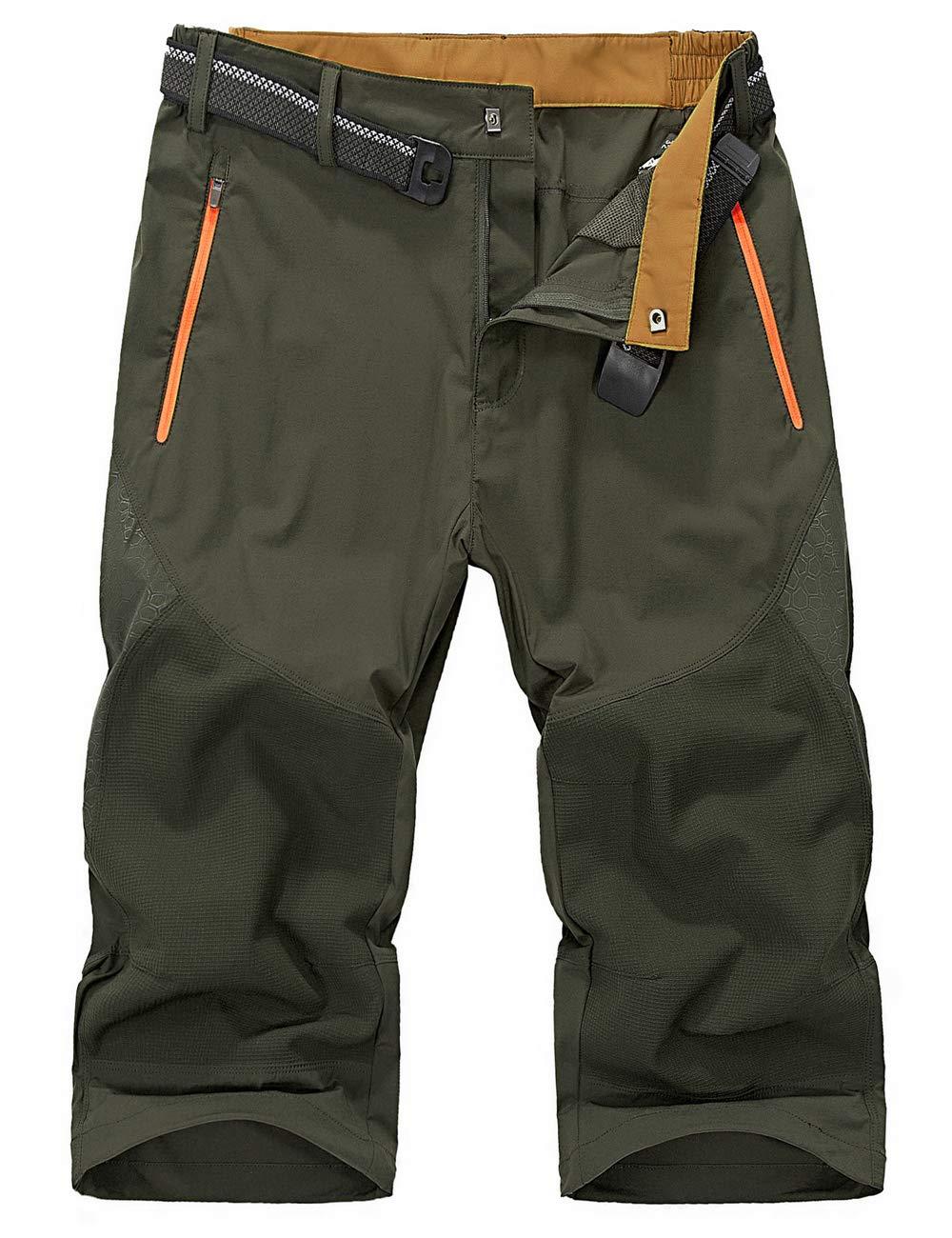 KEFITEVD Shorts de Randonn/ée 3//4 /à S/échage Rapide pour Hommes Shorts L/égers d/ét/é Pantalons Courts de Randonn/ée en Plein Air