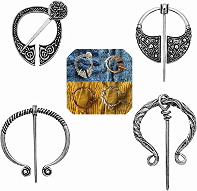 fzbali Vintage Viking Brooches Pins Medieval Cloak Shawl Scarf Pin Clasp Celtic Jewelry Costume Accessory for Women Girls