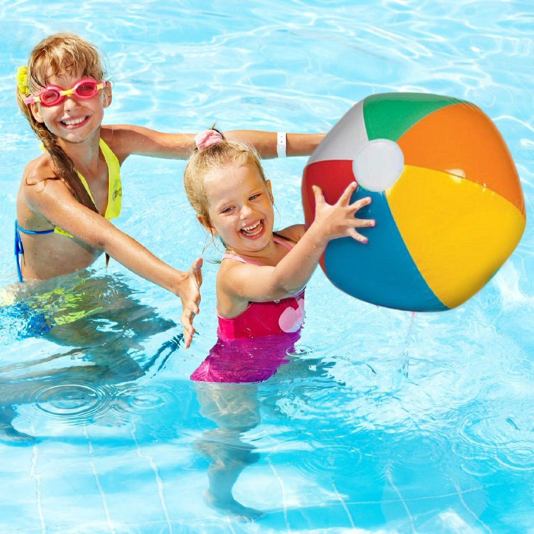 Inflatable Jumbo Beach Balls - 6 Pack - Bright Rainbow Colored Pool Toys for Kids and Adults - By Dazzling Toys