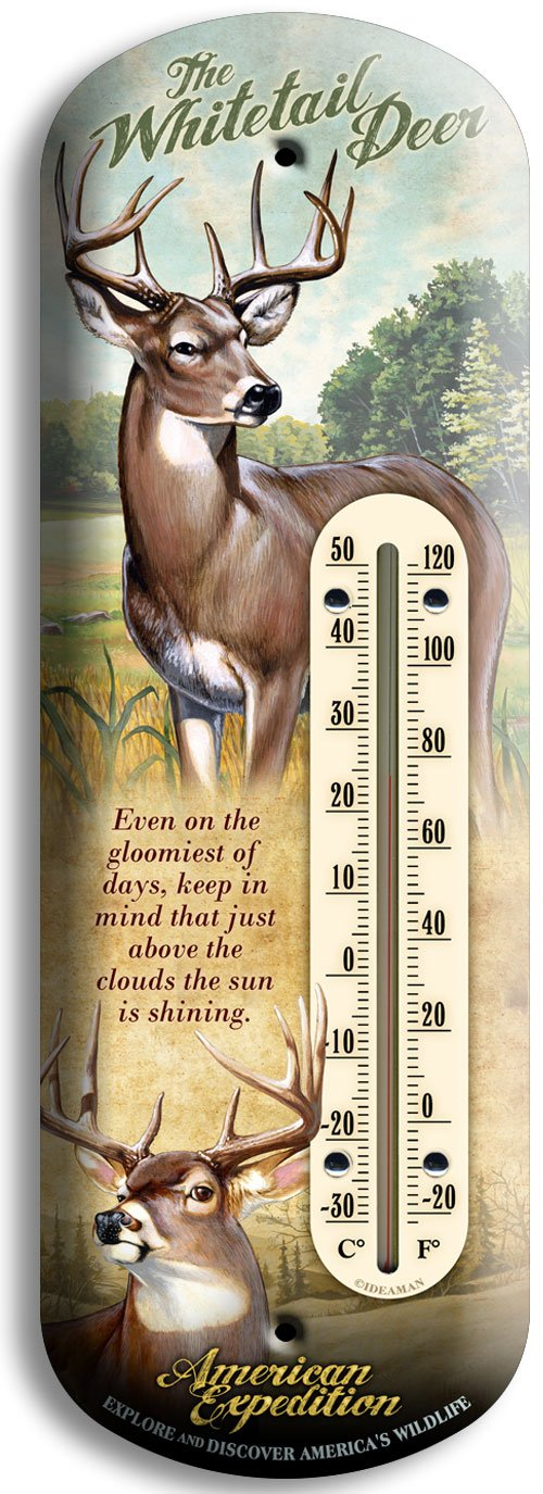 American Expedition 3D Tin Thermometer - Whitetail Deer