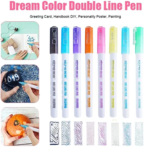 8 Dream Colors Gift Card Writing Drawing Pens Double Line Outline Pen Stationery