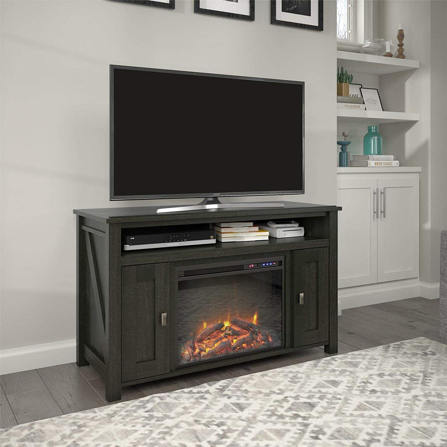 Tv Stand For Tvs Up To 50 With Electric Fireplace Included Home Audio Theater