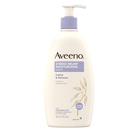 Aveeno Stress Relief Moisturizing Body Lotion with Lavender, Natural Oatmeal and Chamomile Ylang-Ylang Essential Oils to Calm Relax, 18 fl. Oz Pack of 3