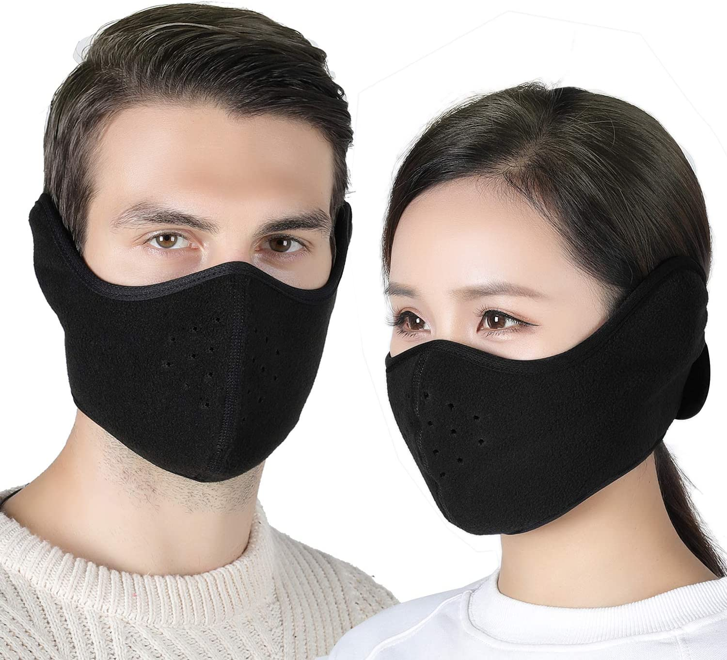 Your Choice Earflap Half Face Cover Cycling Outdoor Activity Black 2 Pack: Automotive