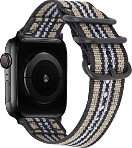 Youther Compatible with Apple Watch Band 44mm, 42mm, 40mm, 38mm, Nylon iWatch Bands with Replacement Strap Durable Adapters for Apple Watch Series 6/5/4/3/2/1/SE