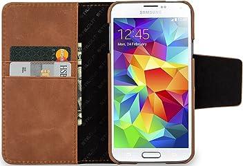 StilGut Talis, custodia in vera pelle con scomparti ad utilizzo portafoglio per Samsung Galaxy S5, cognac vintage