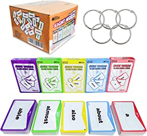Sight Words Flash Cards 520 Word Set – Educational Abc Alphabet Letter Flashcards Homeschool Kindergarten Learning – Read Site Language Activities Toddlers Preschool Kids Games Ages 2-4 4-8 5-7 Years