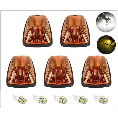 5pcs Amber Cab Maker Roof Running Clearance Light Cover Base + White T10 5050 LED Light Bulbs Replacement For 1988-2002 GMC Chevy C1500 C2500 C3500 K1500 K2500 K3500 Pickup (Amber Lens & White LED): Automotive
