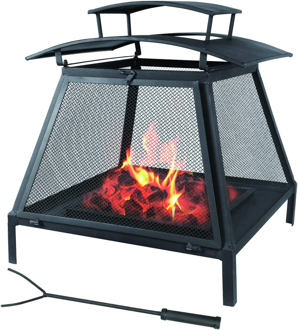 Kerrogee Outdoor Fire Pit, 22 Inch Large Square Wood Burning Patio and Backyard Firepit for Outside with Removal Ash Drawer, Suit for Camping Picnic Bonfire Patio Backyard Beaches Park