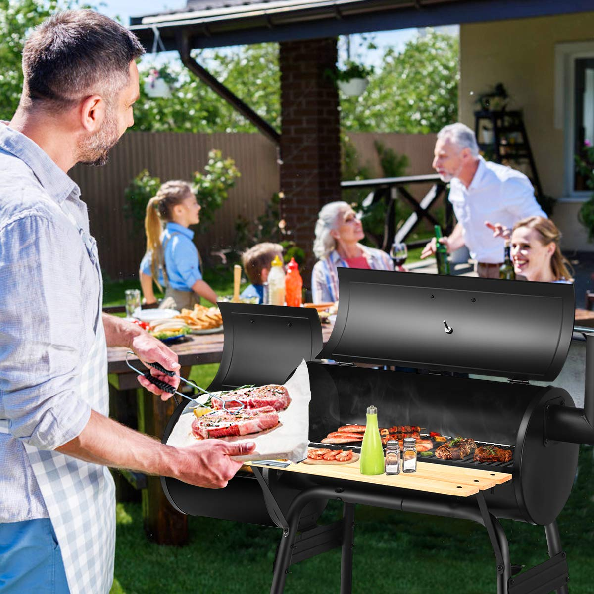 Giantex BBQ Grill Charcoal Barbecue Grill Outdoor Pit Patio Backyard Home Meat Cooker Smoker with Offset Smoker by Giantex (Image #3)