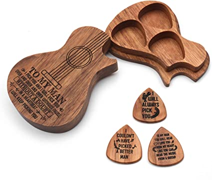 Fesjoy - Caja de madera para púas de guitarra (3 compartimentos, 3 ...