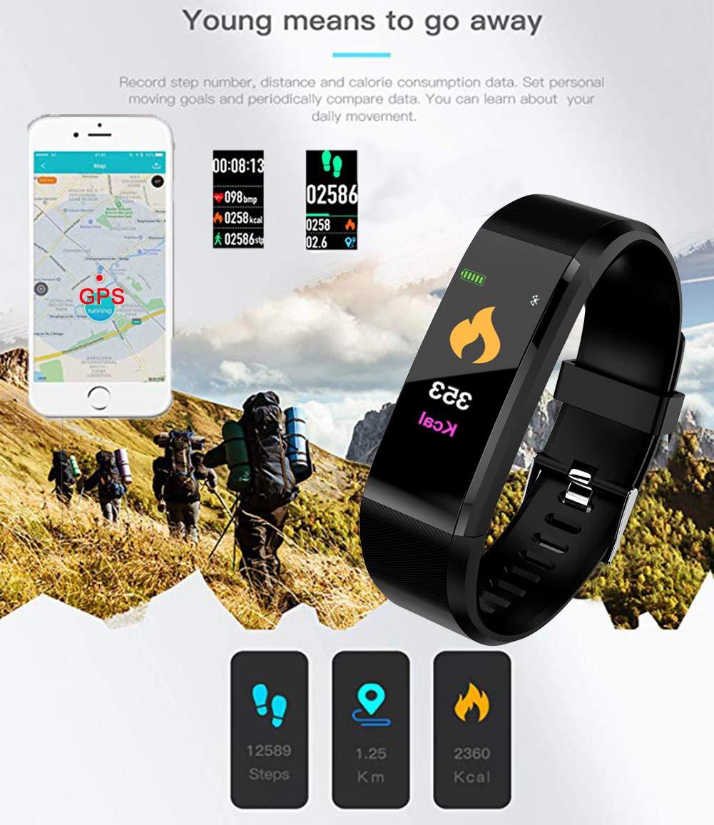 LIGE Fitness Trackers,Pantalla táctil a Color Rastreador de Actividad con Monitor de Ritmo cardíaco Monitor de sueño Impermeable Relojes de Fitness Hombre ...