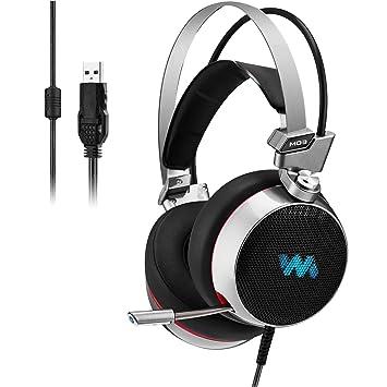Cascos gaming ,Gaming Headset Virtual 7.1 envolvente sonido USB Gaming auriculares con micrófono inteligente cancelación