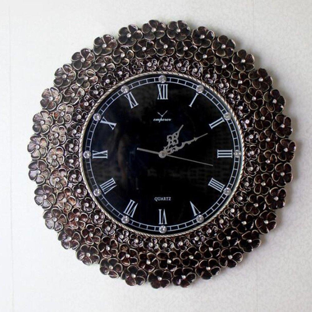 LOU Braguitas Diamante de Cristal Artificial de Lujo Reloj de Pared Grande Reloj de Estilo Europeo Sala de Estar del Metal Reloj de Pared Decoración del ...