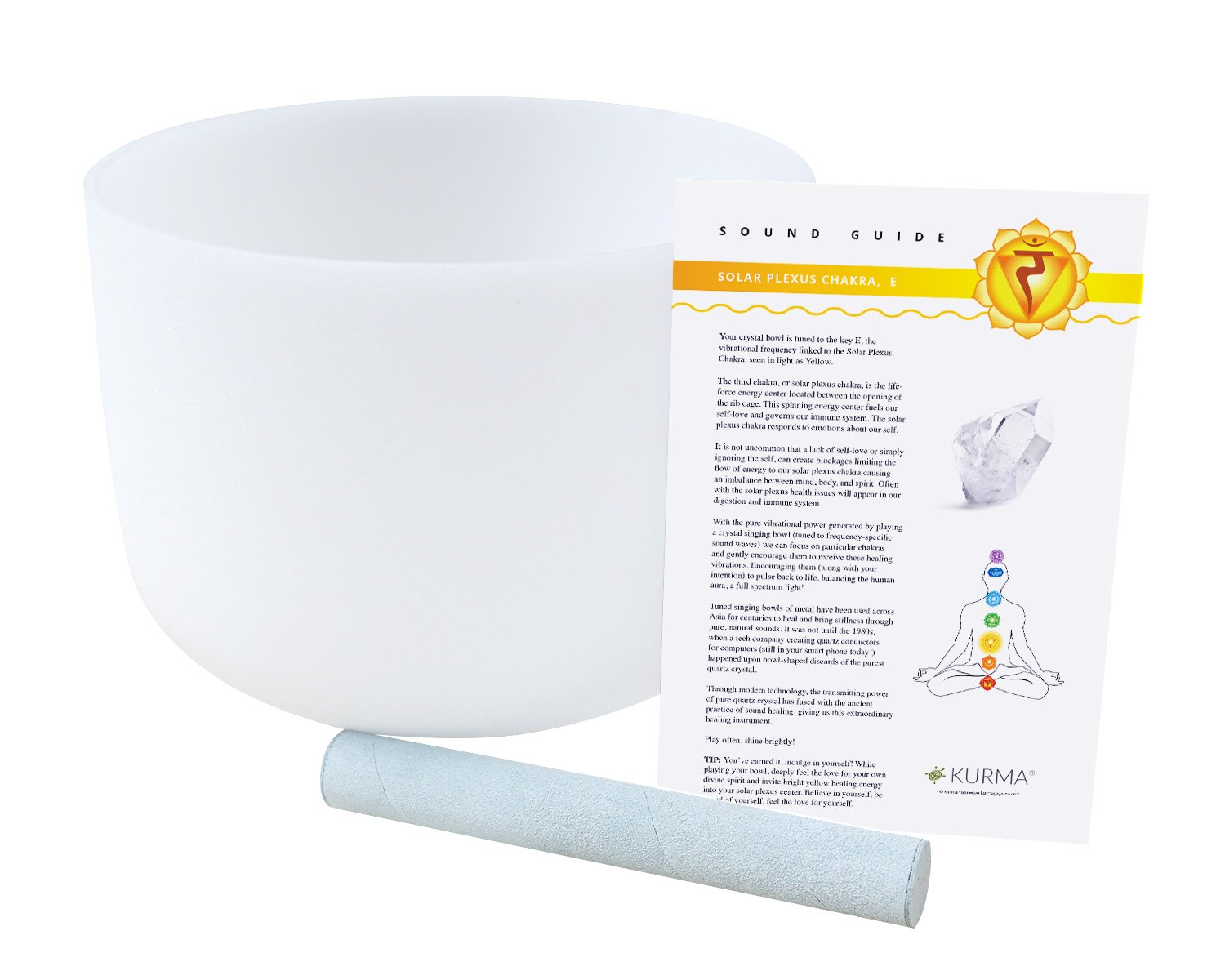 Solar Plexus Chakra Crystal Singing Bowl E Note 10 inch, Frosted Quartz, Suede Mallet Included