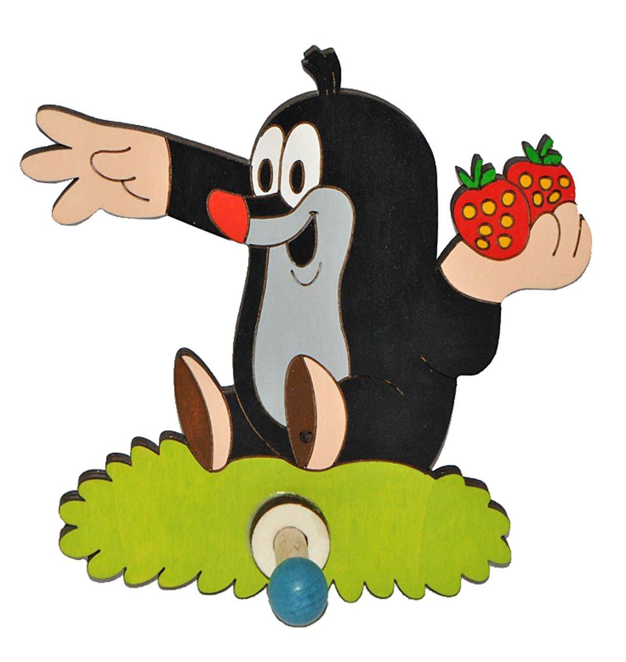 Kleiderhaken clipart  Garderobenhaken - der kleine Maulwurf mit Erdbeere - Holz Kinder ...