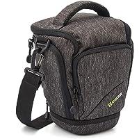 SLR Compact Camera Case Evecase Digital SLR/DSLR Camera Shoulder Bag for Compact System, Hybrid and Highzoom Camera (Gray)