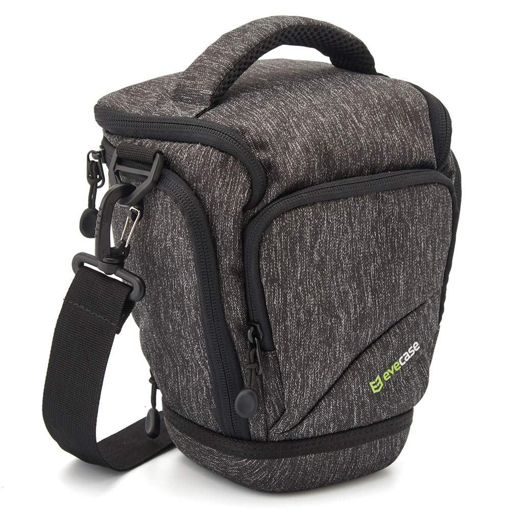 Camera Case, Evecase Top Load Digital SLR/DSLR Camera Shoulder Bag with Rain Cover and Weather Resistant Bottom for Compact System, Hybrid, Mirrorless, Micro 4/3 and High Zoom Camera - Gray 885157978316