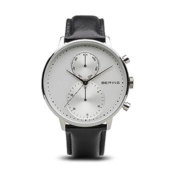 BERING Reloj Cronógrafo para Hombre de Cuarzo con Correa en Cuero 13242-404: Amazon.es: Relojes