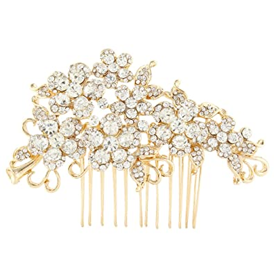 TENYE Women's Austrian Crystal Bridal Flower Leaf Vine Hair Comb Clear Llss0