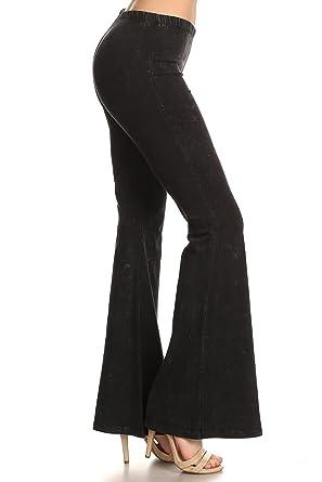 cff2d196ab0 Zoozie LA Women s Bell Bottoms Yoga Stretch Pants High Waist Tie Dye Black S