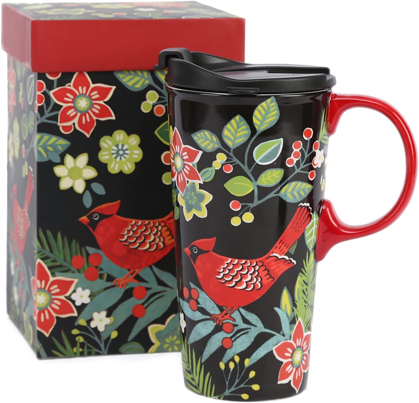 CEDAR HOME Coffee Ceramic Mug Porcelain Latte Tea Cup With Lid in Gift Box 17ounce. Cardinal Bird