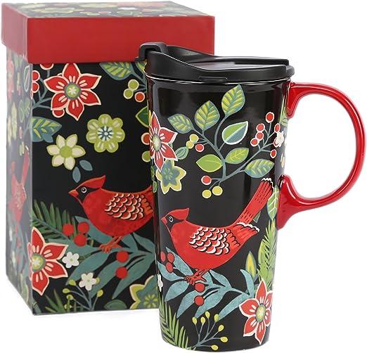 Cardinal Travel Coffee Mug with Gift Box Tea Cup Ceramic 17 oz.