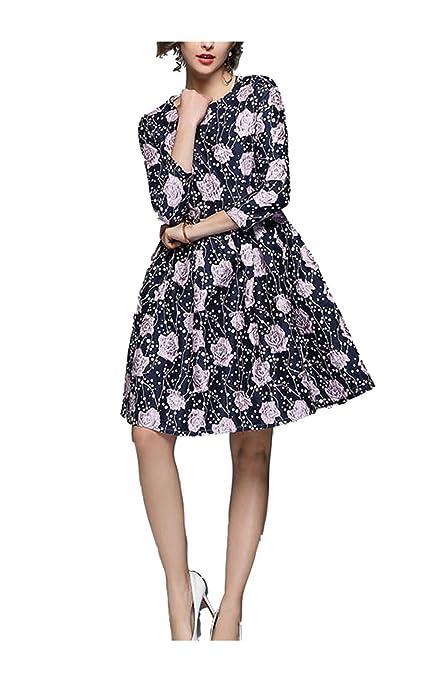 Yingsssq Vestido Jacquard para Mujer Vestido de Noche Floral con Manga 3/4 con Cuello