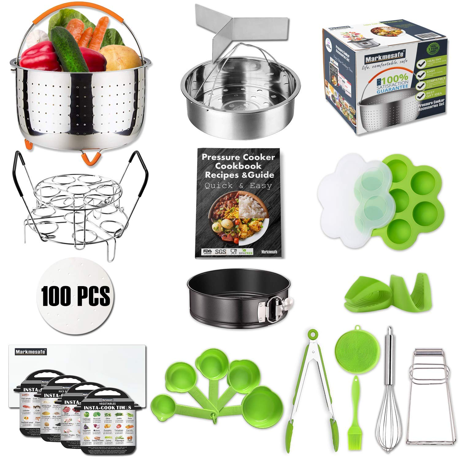 For Instant Pot Pressure Cooker Accessories Set Fit 6,8 QT, Steamer Basket, Recipes Cookbook, Egg Bites Mold, Springform Pan,Stackable Egg Steamer Rack,5 Cooking time Magnets,Balloon Whisk And More