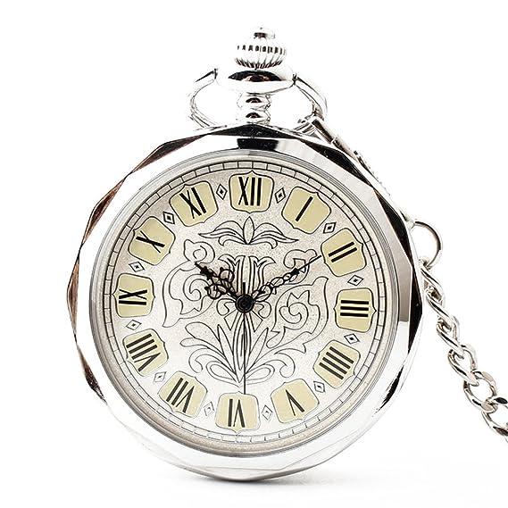 joielavie Orologio GOUSSET Fiore Decorato numero romano senza coperchio  argento meccanico catena a GOUSSET lega orologio da tasca classico regalo  uomo