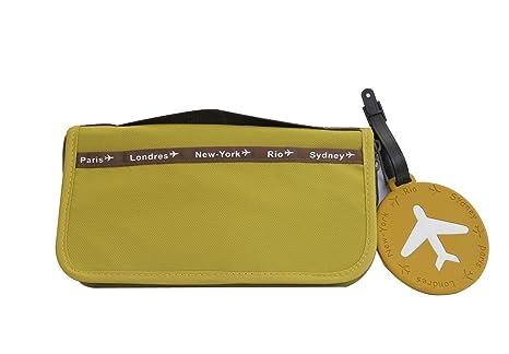 Billetera / Organizador para viajes + Etiqueta para el bolso VERDE
