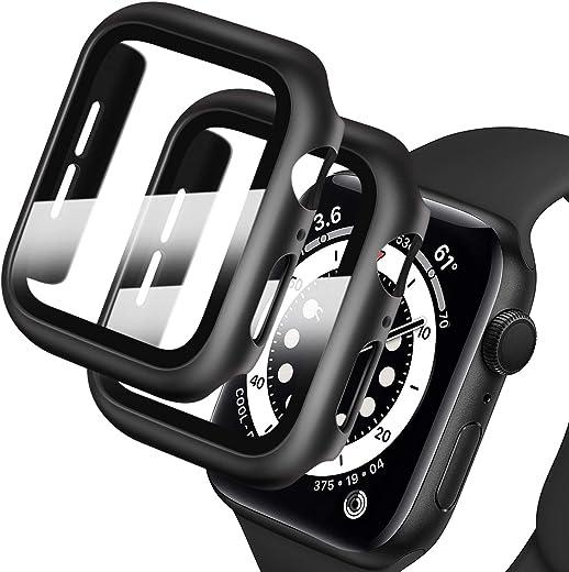 جراب صلب من البولي كربونات من Deilin مع واقي شاشة من الزجاج المقوى متوافق مع سلسلة ساعة Apple Watch 6/5/4/SE 44 مم، جراب لجميع جوانب التغطية المصدات الواقية لهاتف iWatch Series 6/5/4/SE 44mm