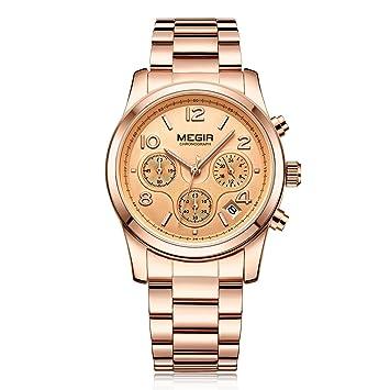 Megir Ladies Luxury Watch Fashion Chronograph Reloj Analógico Relojes Elegantes para Mujer Regalo 2057,Gold: Amazon.es: Deportes y aire libre