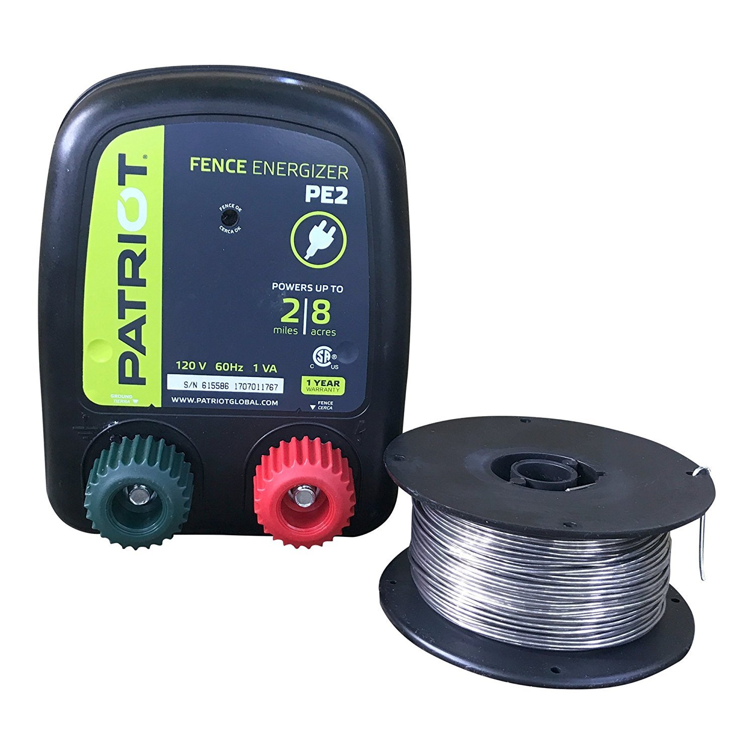 Patriot PE2 Electric Fence Energizer Plus Fi-Shock 250-Feet 17 Gauge Spool Aluminum Wire for Containing Pets and Keeping Out Small Nuisance Animals