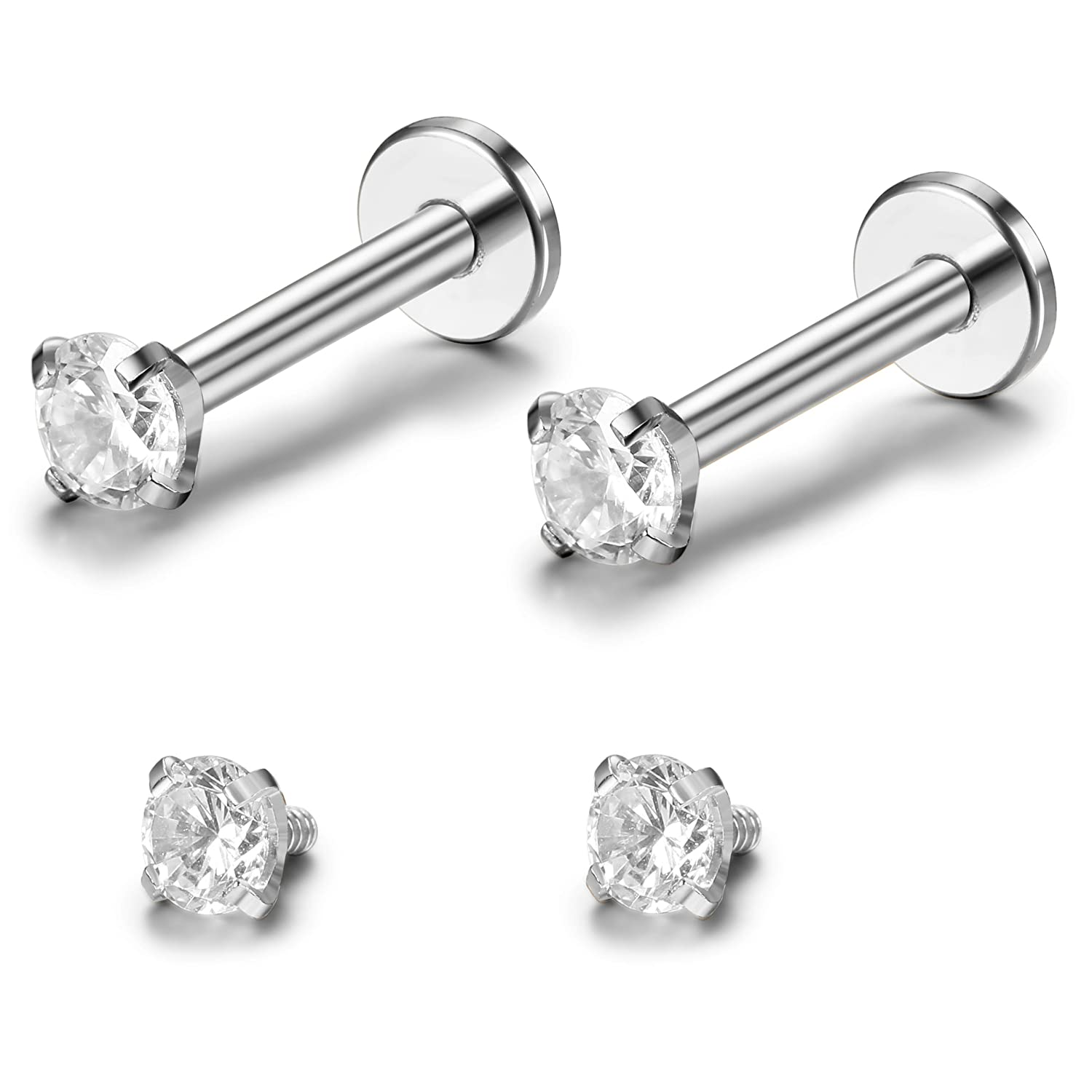 ORAZIO 2-3Pcs 16G Stainless Steel Nose Studs CZ Labret Studs Lip Rings Ear Piercings Studs Silver-tone 2-3MM
