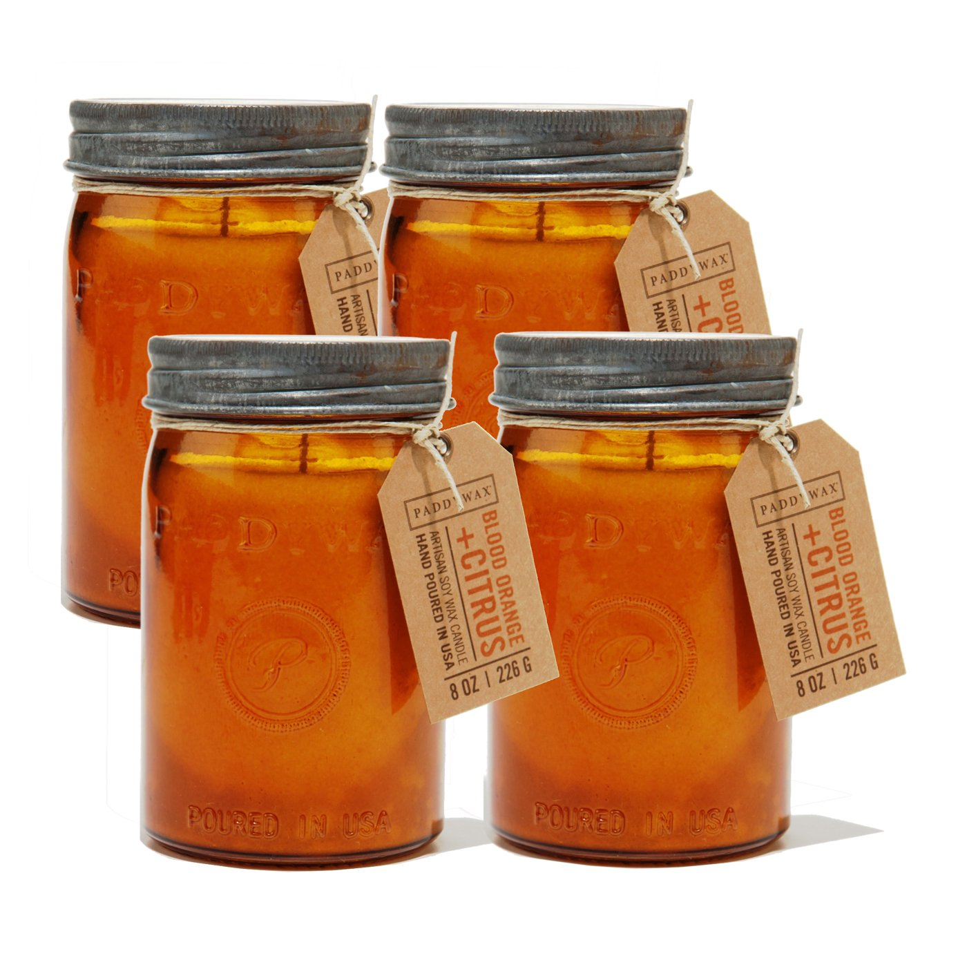 Paddywax Candles Relish Jar Collection Candle, 9.5-Ounce, Blood Orange and Citrus - Set of 4