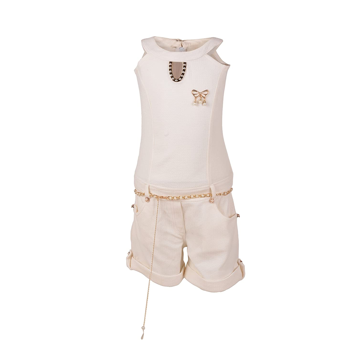 fdffed45545a Aarika Girl s Self Design Premium Party Wear Jumpsuit (JS-5-WHITE 32 9-10  Years)  Amazon.in  Clothing   Accessories