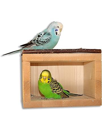 Bonita casa de madera para pájaros, para colocar en jaulas o pajareras. El lugar