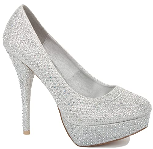e8193c89ba3f Silver Diamante Size 5 - NEW LADIES WOMENS PLATFORM STILETTO PARTY PROM  WEDDING MID HIGH HEEL