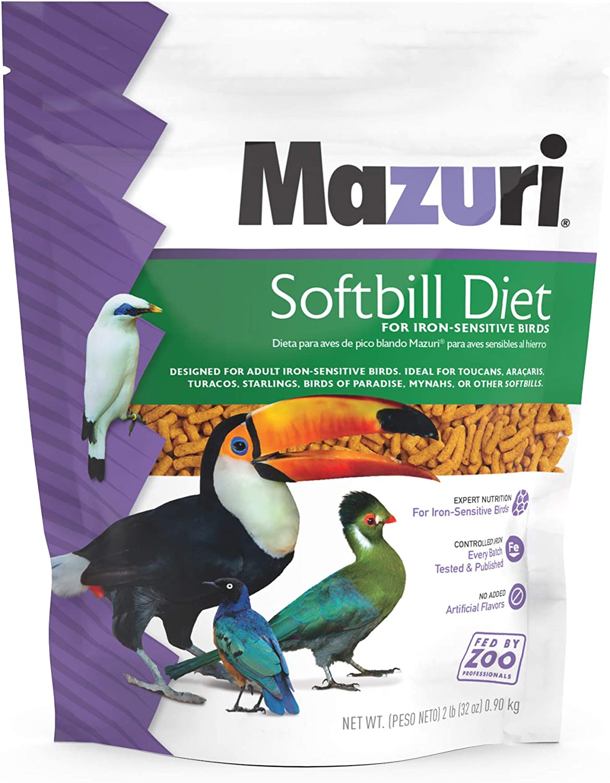 Mazuri | Softbill Diet for Iron-Sensitive Birds | 2 Pound (2 LB) Bag