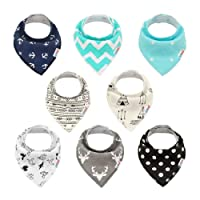 ALVABABY Bandana Drool Bibs 8 Pack of Drooling Teething Feeding,Super Absorbent 100% Cotton For Boys and Girls Newborn Infant Toddler Baby Gifts SKX02-CA