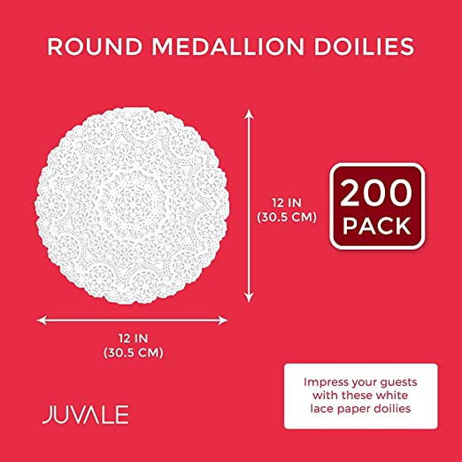 Juvale Round Medallion Doilies 12 in, White Lace Paper, 200 Pack