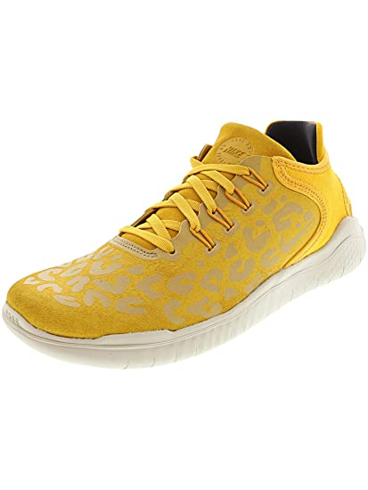 Nike Free RN 2018 Wild Suede Women's Running, Size 6, Color Yellow OchreOil Grey
