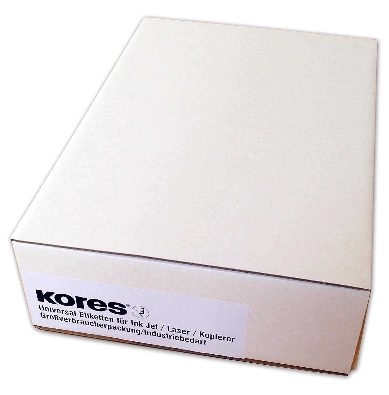 Kores - Confezione grande di etichette universali, 70 x 37 mm, 500 fogli, colore: bianco E7037.500