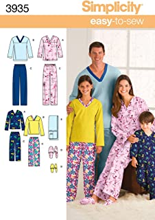 product image for Simplicity Easy To Sew Children's, Men's and Women's Pajamas Sewing Pattern, Child Sizes XS-L and Adult Sizes XS-XL