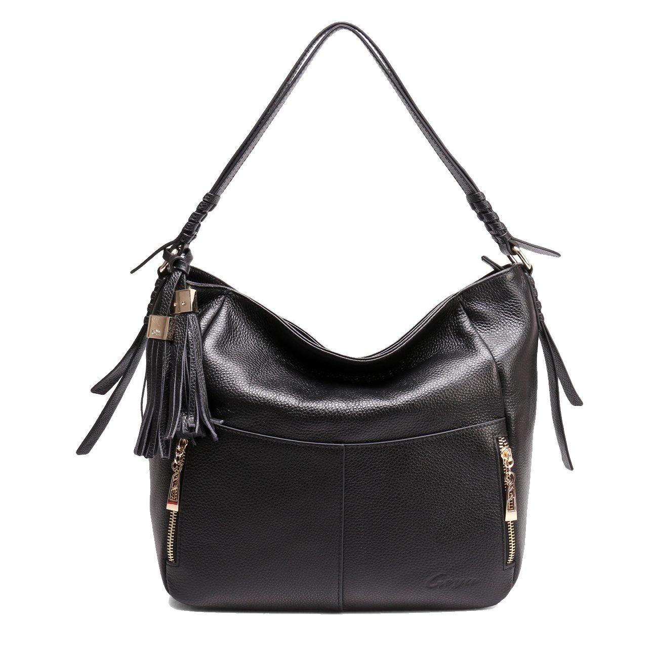 Geya Women's Fashion Genuine Leather Handbag Shoulder Handbag with Imported Soft Hot Leather (Black) by Geya (Image #2)
