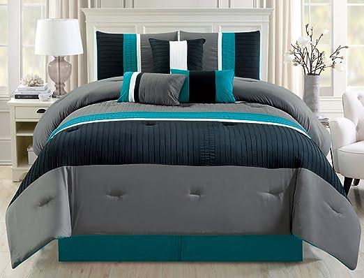 Amazon Com Grand Linen Modern 7 Piece Oversize Teal Blue Grey