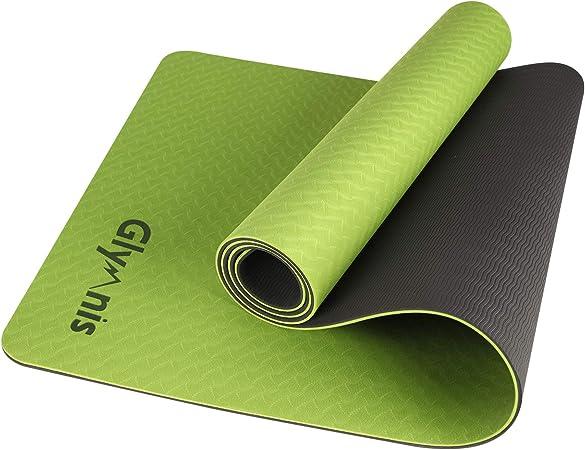 ad alta resistenza yoga pilates 183 x 61 x 0,6 cm Glymnis double face per donna tappetino da yoga in TPE ecologico casa antiscivolo con cinghia per il trasporto palestra uomo