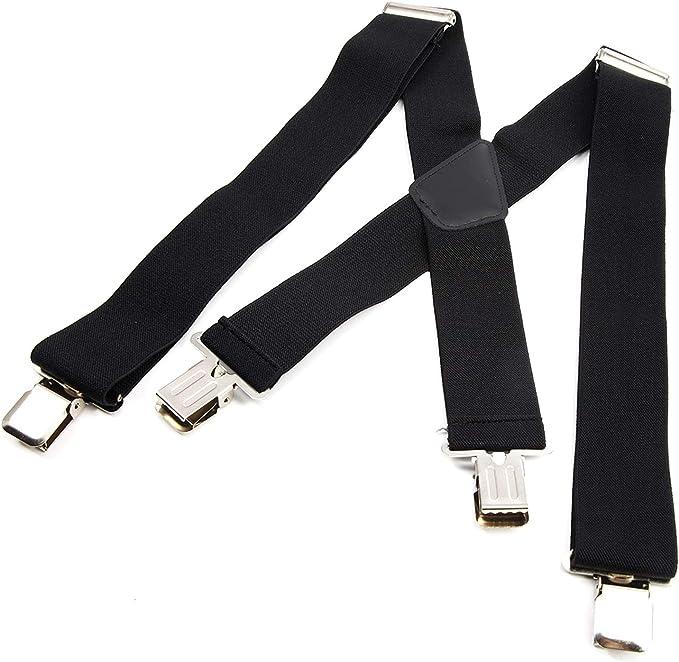Mens Braces 50mm Wide Strong Metal Clip Adjustable Elastic Suspenders 6 Colours