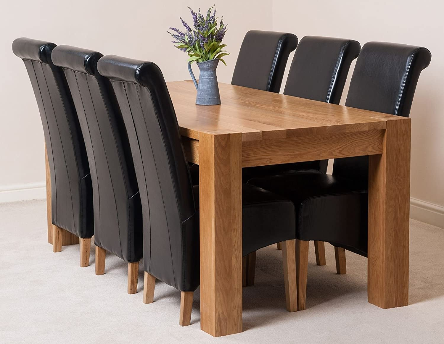 kuba solid oak dining table with 6 or 8 montana chairs available in 4 colours black 6 amazoncouk kitchen u0026 home